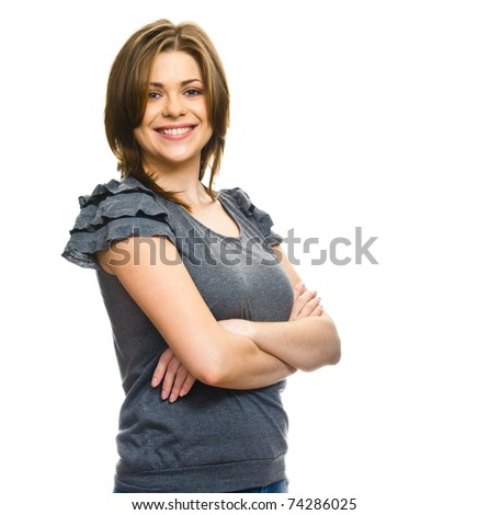 Close-up portrait of yong woman casual portrait in positive view, big smile, beautiful model posing in studio over white background . Isolated on white. - stock photo