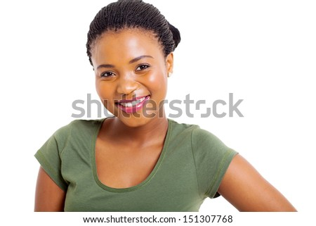 close up portrait of young african american woman on white background - stock photo