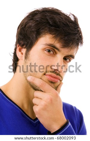 Close up portrait of young atractive man, isolated on white