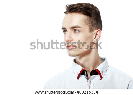 close up portrait of young attractive manlooking sideways isolated on white - stock photo