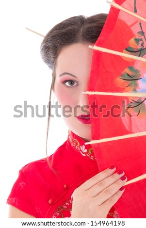 close up portrait of young attractive woman in red japanese dress with fan isolated on white background - stock photo