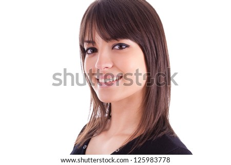 Close up portrait of young beautiful caucasian woman, isolated on white background - stock photo