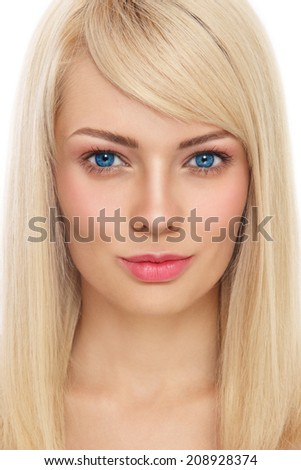 Close-up portrait of young beautiful healthy smiling girl with long blond hair over white background - stock photo