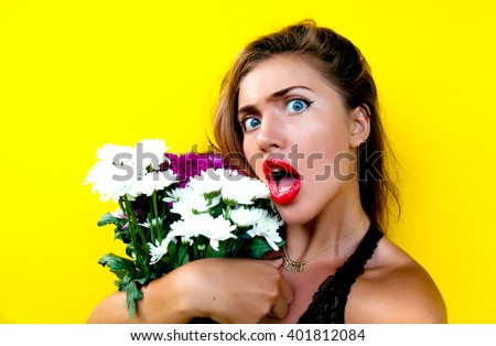 Close-up portrait of young beautiful woman,celebrate her birthday,woman day,valentines day.Make cool funny self portrait,summer style,colorful background, happy emotions, sport style, active,flowers  - stock photo