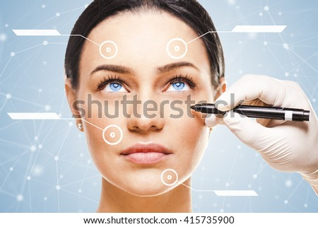 Close-up portrait of young beautiful woman, facial plastic surgery concept - stock photo