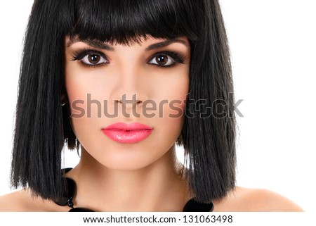 Close-up portrait of young beautiful woman isolated on white background - stock photo