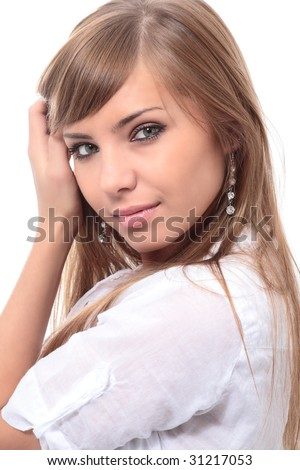 close-up portrait of young beautiful woman with green eyes - stock photo