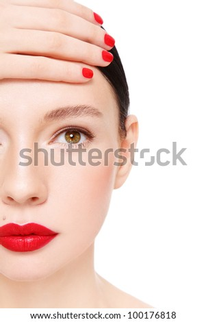 Close-up portrait of young beautiful woman with red lipstick, over white background - stock photo