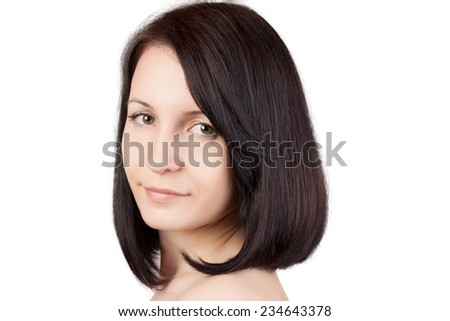 Close-up portrait of young beautiful woman with short hairstyle isolated on white background. Beautiful haircut. Short straight healthy hair. Skin care concept.  - stock photo
