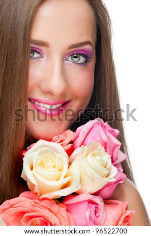 Close-up portrait of young beautiful woman with stylish bright make-up with roses. Isolated on white background