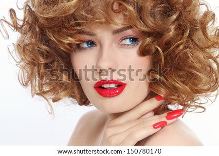 Close-up portrait of young beautiful woman with stylish manicure and red lipstick - stock photo