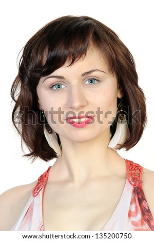 Close up portrait of young beauty caucasian woman on white - stock photo