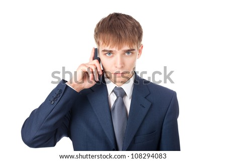 close up portrait of young businessman with mobile phone isolated on white background