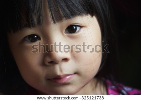 Close up portrait of young cute girl - stock photo