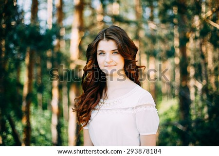 Close Up Portrait Of Young Happy Beauty Red Hair Girl In White Dress In Summer Park - stock photo