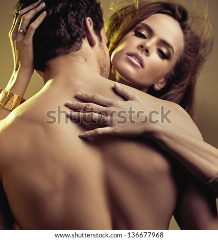 Close up portrait of young lovers - stock photo