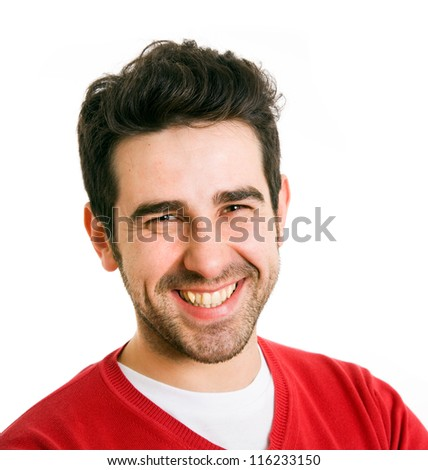 Close up portrait of young man laughing, isolated on white background