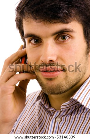 close up portrait of young man on the phone, isolated on white - stock photo