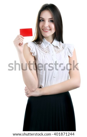 Close-up portrait of young smiling business woman holding credit - stock photo