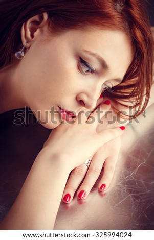 Close up portrait of young woman  - stock photo