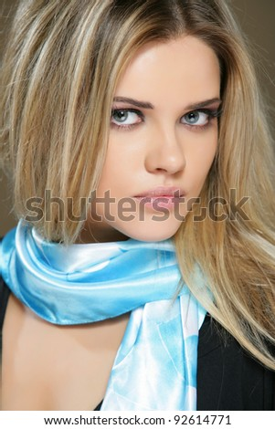 Close up Portrait of young woman with perfect lips. Isolated on studio background. - stock photo