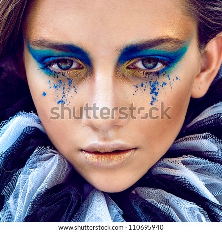 close up portrait pretty girl whith green eyes - stock photo