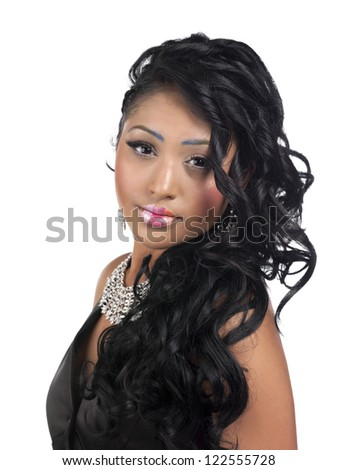 Close-up portrait shot of a attractive young African American female against white background - stock photo