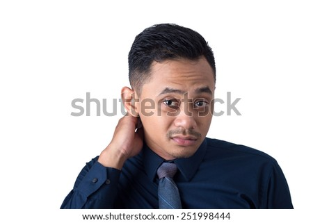 Close up portrait tired middle aged businessman executive with neck pain isolated on white background. Human face expression emotion, feeling. Long working hours body injury illness concept - stock photo
