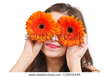 Close up portrait with young woman with gerber eyes - stock photo