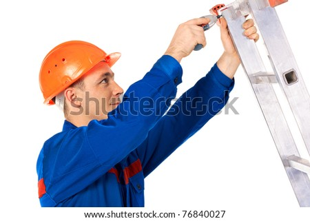 Close up portrait worker for work Repair step - stock photo