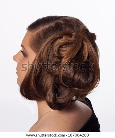 Close-up portrait young woman with extraordinary hair style - stock photo