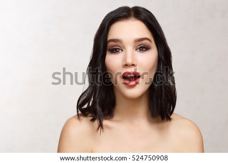 close-up portraits of young sexy girl isolated on white background.