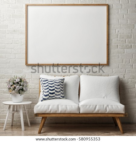 Close Up Poster On White Brick Wall, Hipster Interior, 3d Illustration