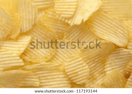 Close up potato chips background