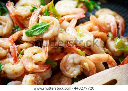 close up prawns spicy with hot basin cooking in pan