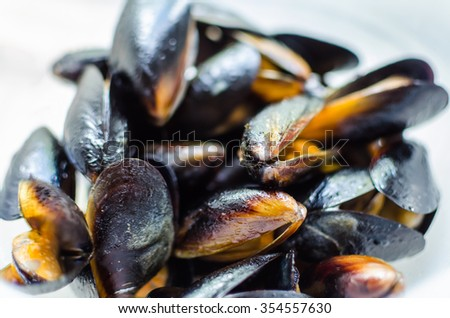 Close up prepared blueshell mussels with garlic in white wine sauce served on the white background. Typical italian cuisine or mediterranean style of dish or snack for dinner - stock photo