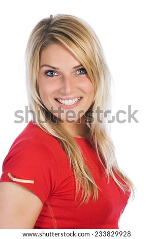 Close up Pretty Smiling Woman with Long Blond Hair in Casual Red Shirt. Looking at the Camera. Isolated on White Background. - stock photo