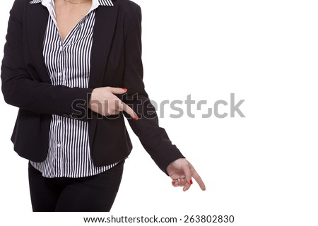 Close up Pretty Smiling Young Businesswoman Pointing Up with her Two Hands While Looking at the Camera. Isolated on White Background. - stock photo