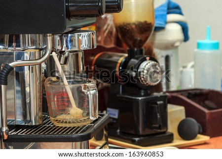 Close up process of preparation of coffee