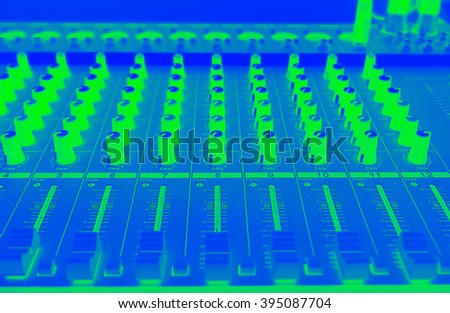 Close up professional equalizer for concert mix