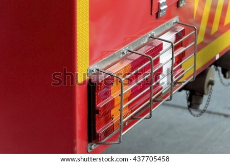 Close up  protect light  of fire truck - stock photo