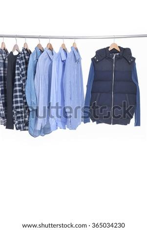 Close-up rack shirts,jacket,  - stock photo