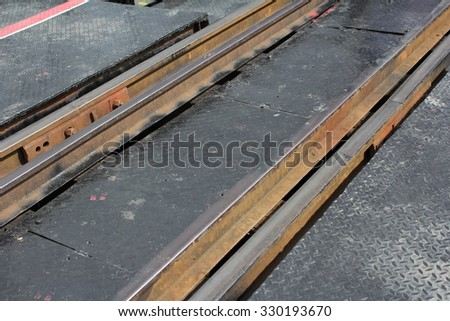 Close up railway track - stock photo