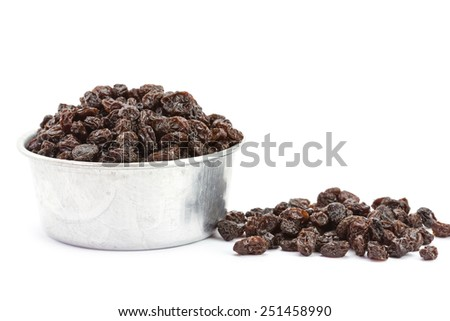 Close up raisin isolated on white background - stock photo