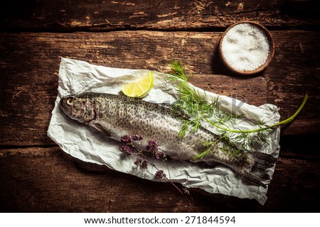Close up Raw Fish Meat on a Paper with Herbs and Spices on Top of a Rustic Table with Salt and Red Tomatoes on the Side. Captured in High Angle View. - stock photo