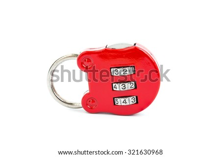 Close-up red combination padlock isolated on white background - stock photo