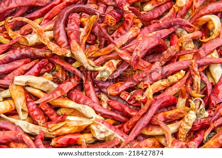close up red dried chili for Thai spicy herb ingredient  - stock photo