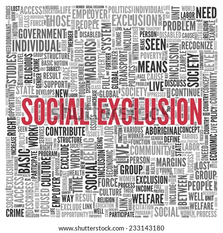 Close up Red SOCIAL EXCLUSION Text at the Center of Word Tag Cloud on White Background. - stock photo