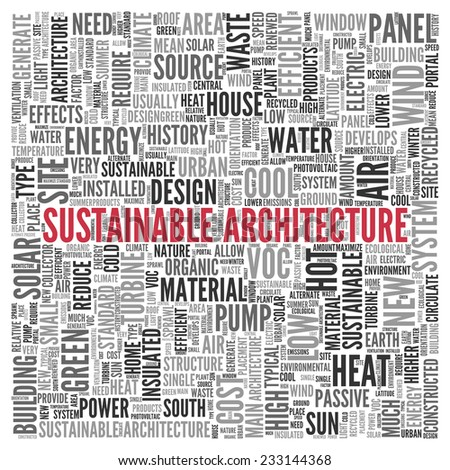 Close up Red SUSTAINABLE ARCHITECTURE Text at the Center of Word Tag Cloud on White Background. - stock photo