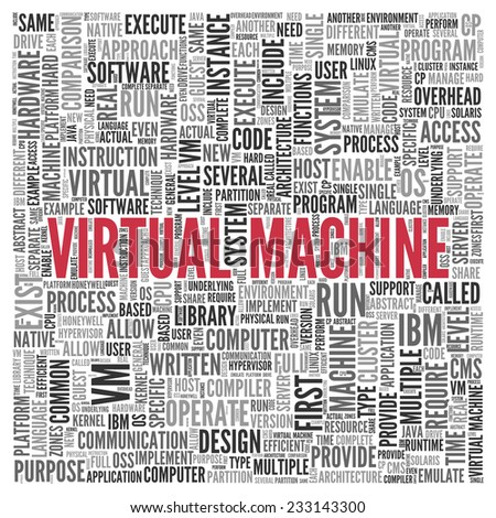 Close up Red VIRTUAL MACHINE Text at the Center of Word Tag Cloud on White Background. - stock photo